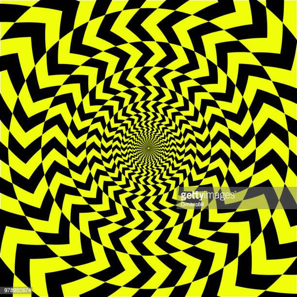 Abstract op art yellow and black background. Oposite arrows forming a vortex pattern