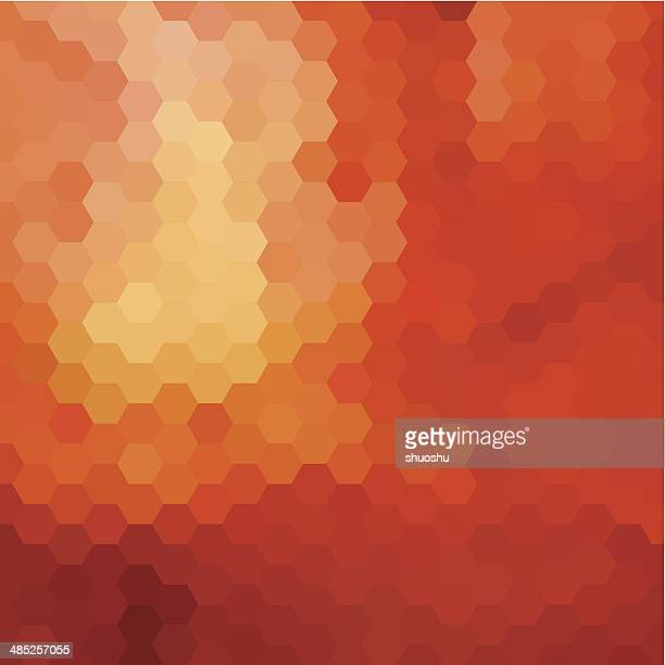 abstract orange hexagon pattern background