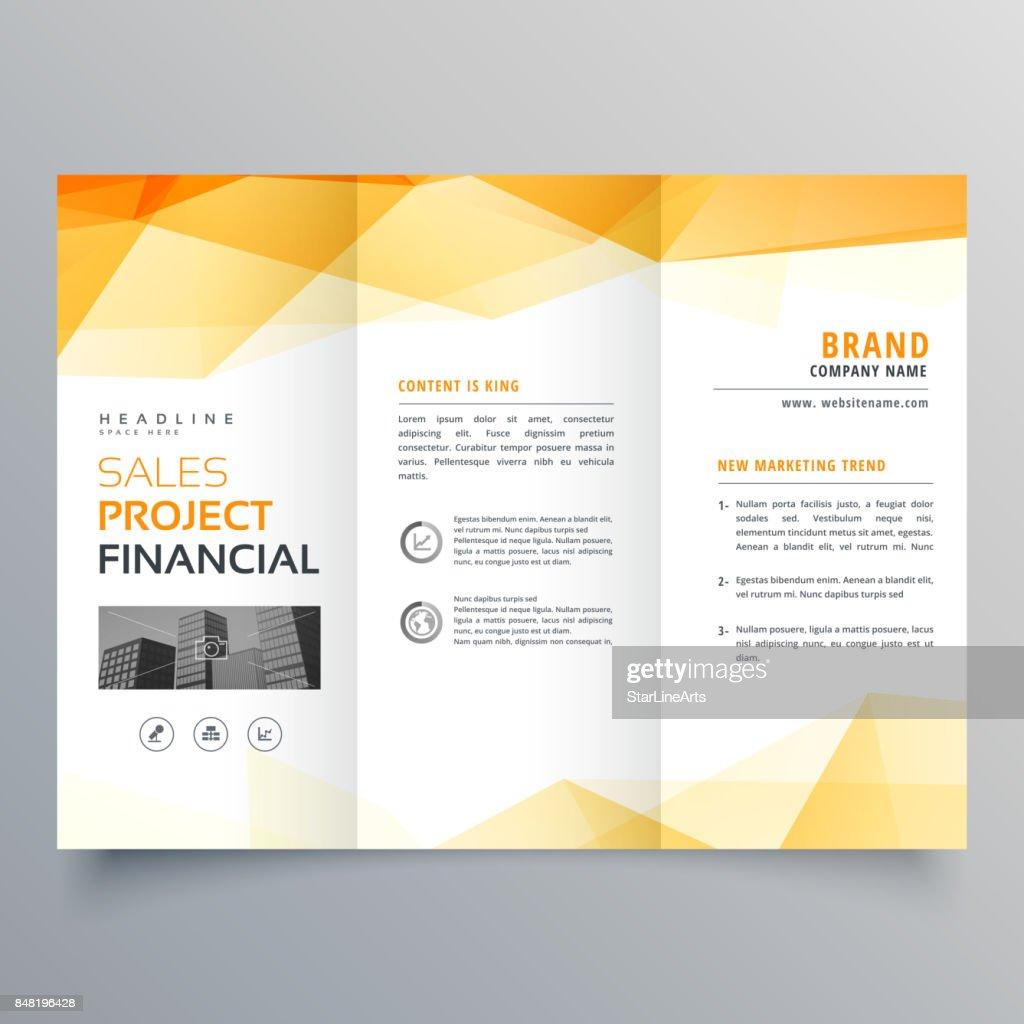 abstract orange trifold creative brochure design template
