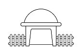 Abstract outline drawing, modern dome house shaped with wooden fence vector illustration