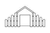 Abstract outline drawing, modern house with wooden fence vector illustration