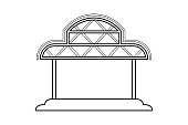Abstract outline drawing, space frame structure of warehouse asia style vector illustration