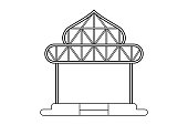 Abstract outline drawing, space frame structure of warehouse dome shape vector illustration