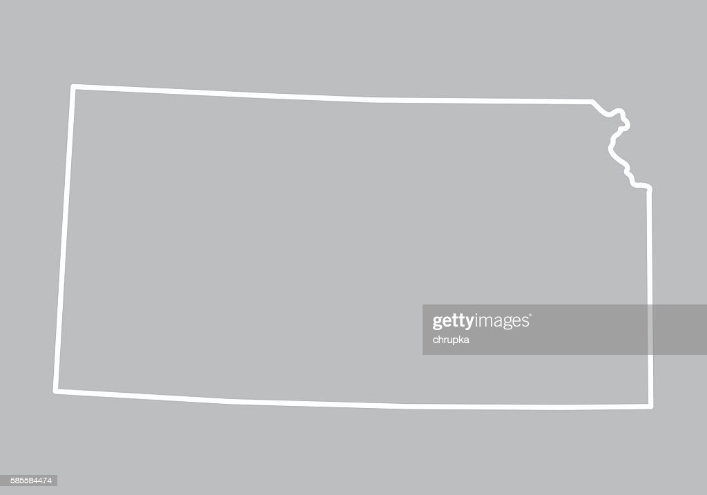 Abstract Outline Of Kansas Map Vector Art Getty Images