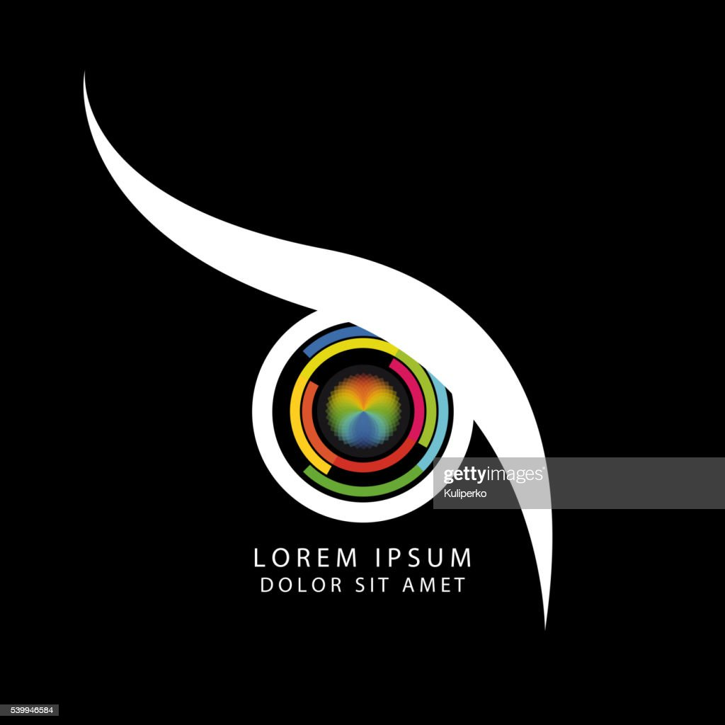 Abstract owl eye concept with camera symbol. Vector
