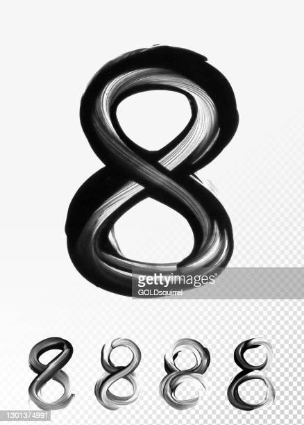 number 8 - abstract paint illustration with round isolated black object - heavily diluted paint spread on the glossy surface of white paper background by a finger - uneven irregular natural unique and simple geomertic shape illustration - number 8 stock illustrations