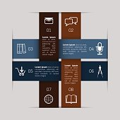 Abstract paper cross infographic template. Vector illustration.