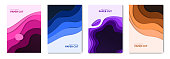 Abstract paper cut fluid web banners and liquid brochures. Paper waves background with 3d effect.