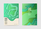 Abstract Paper Cut Layered Posters. Fluid Shapes Brochure Template. Banner Identity Card Cover Design Leaflet. Vector illustration