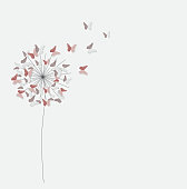 Abstract Paper Cut Out Butterfly Flower Background. Vector Illus