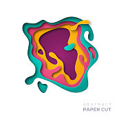 3D abstract paper cut shapes
