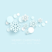 Abstract Papercraft Snowflakes Christmas Background. Vector illustration