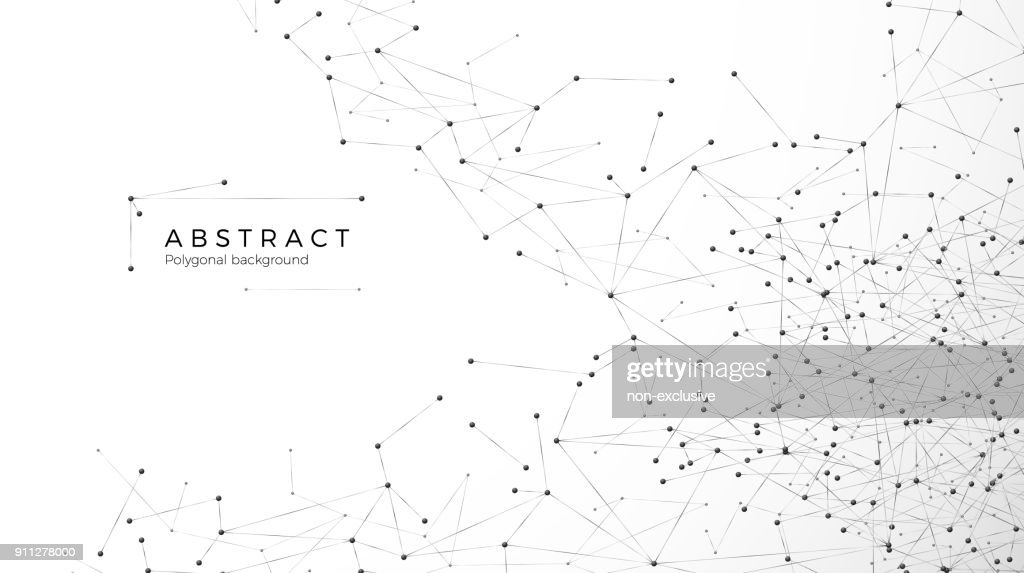 Abstract particle background. Mess network. Nodes connected in web. Futuristic plexus array big data. Atomic and molecular pattern. Vector illustration isolated on white background
