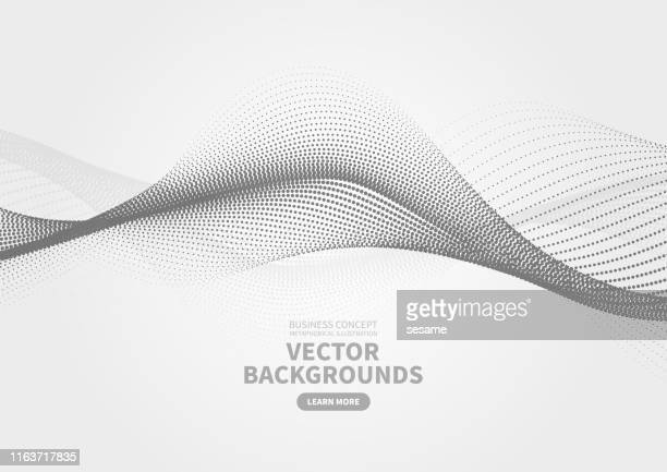 ilustrações de stock, clip art, desenhos animados e ícones de abstract particle rippled dotted background - onda