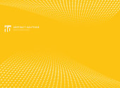 Abstract pattern dots yellow color halftone perspective background.