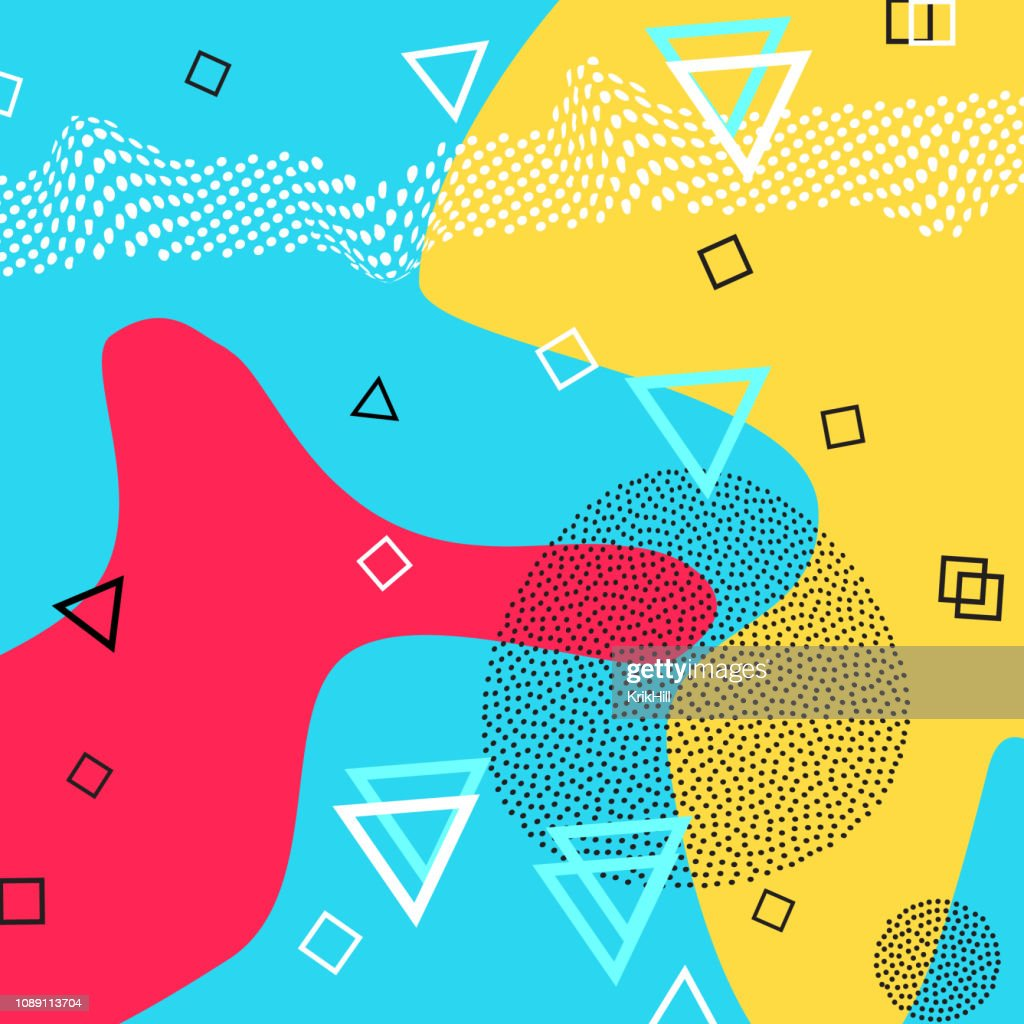 Abstract pattern of geometric shapes for tissue and postcards. Vector Illustration. Hipster style. Abstract colorful funky background.