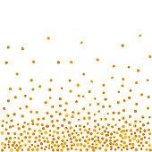 Abstract pattern of random falling golden dots.