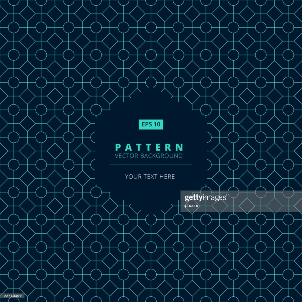 abstract pattern square octagon and circle light blue on dark background with hexagon label copy space, vector
