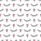 Abstract pattern with closed eyes and pink hearts.