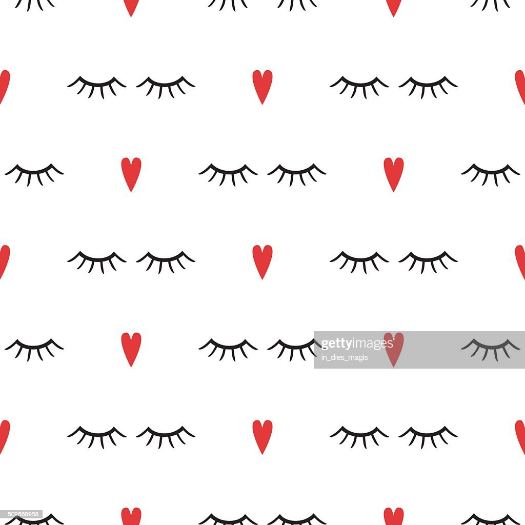Abstract pattern with closed eyes and red hearts.