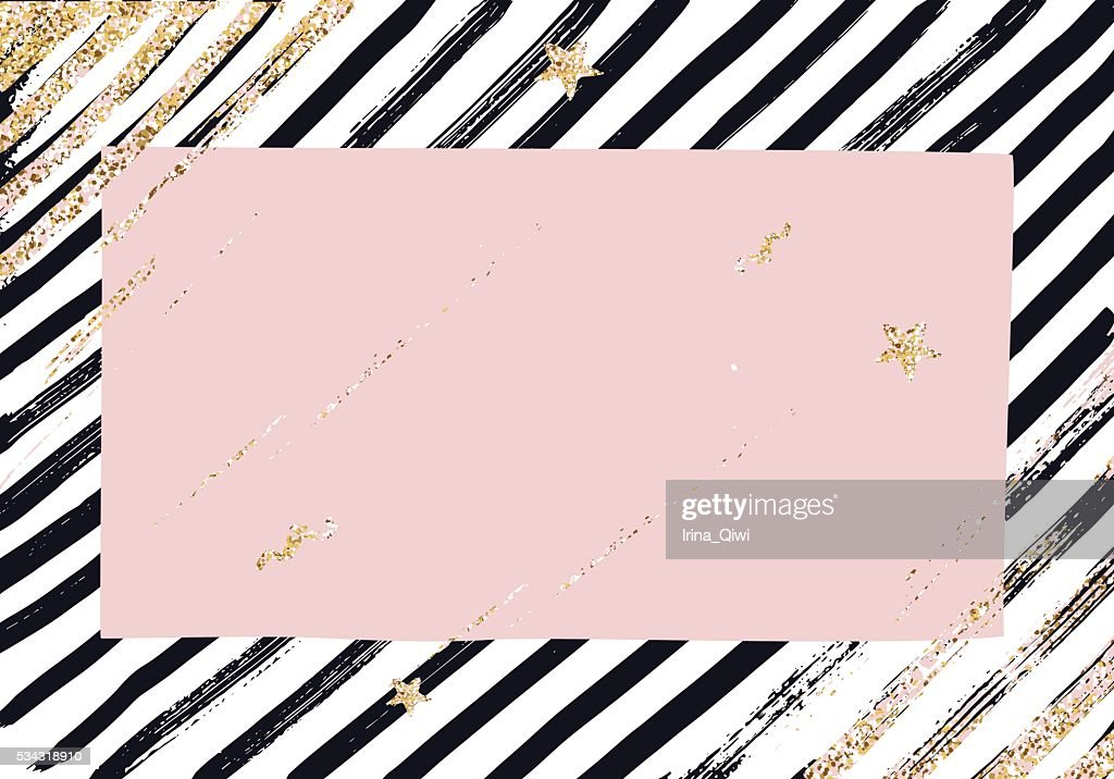 Abstract  pattern with trendy glitter and gold  textured brush strokes