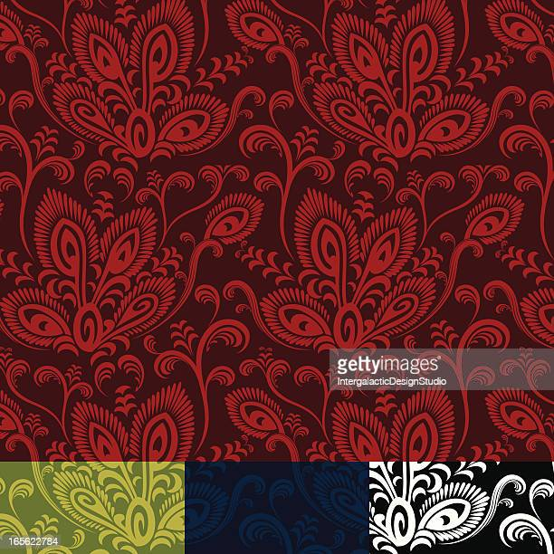 abstract peacock floral pattern - animal markings stock illustrations, clip art, cartoons, & icons