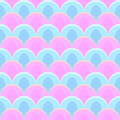 abstract peacock seamless vector pattern pastel colors - pink and blue
