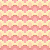 abstract peacock seamless vector pattern pastel colors - rose and yellow