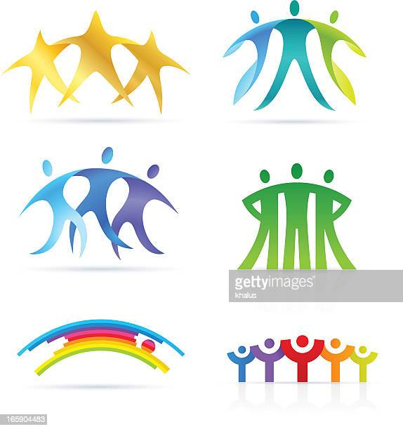 abstract people bridge - equal opportunity stock illustrations, clip art, cartoons, & icons