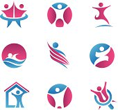 Abstract people logos and icons