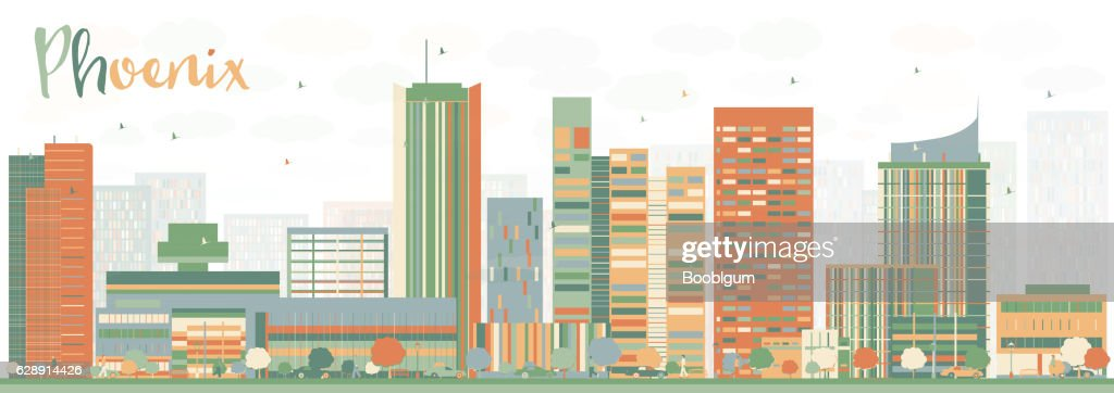Abstract Phoenix Skyline with Color Buildings.