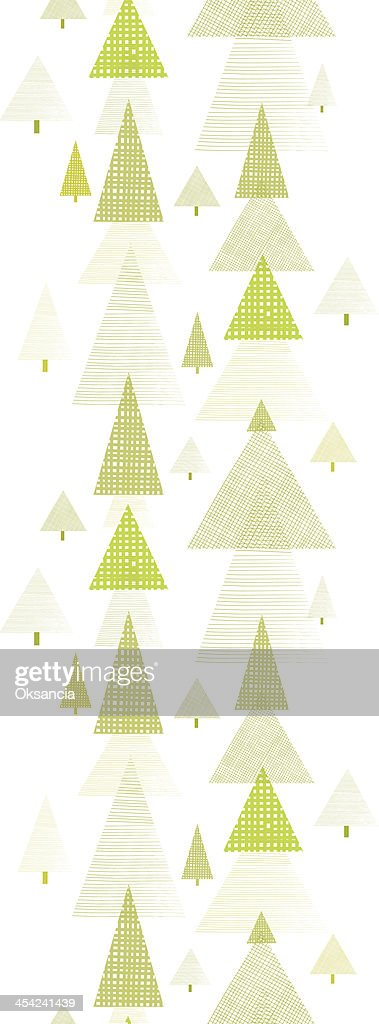 Abstract pine tree forest vertical seamless pattern background : Vector Art