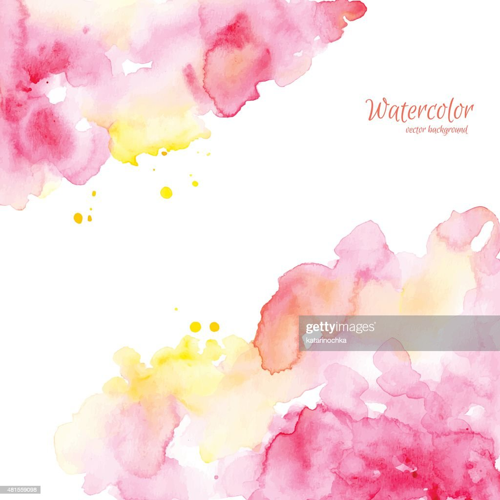 Abstract pink yellow hand drawn watercolor background,vector illustration.