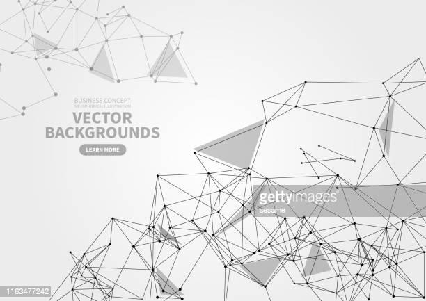 illustrazioni stock, clip art, cartoni animati e icone di tendenza di sfondo geometrico astratto di punti e linee, struttura poligonale - filo metallico