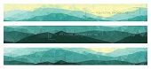 Abstract polygonal banners with mountain ridges