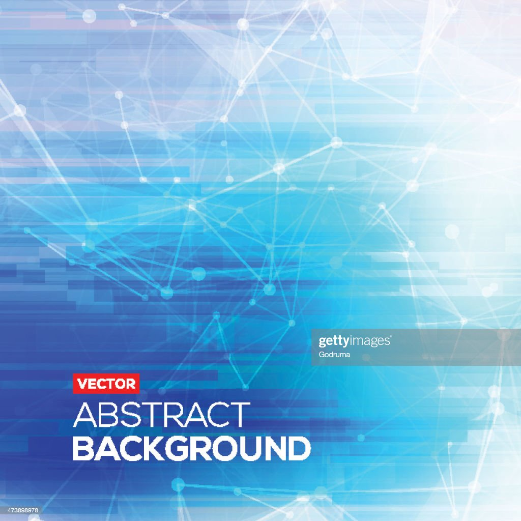 Abstract polygonal blue low poly bright background with connecting dots