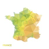 abstract polygonal france map, poly low isolated vector