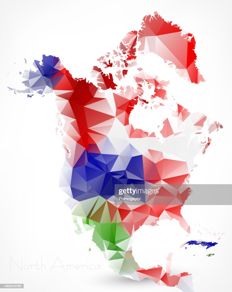 Abstract Polygonal Geometric Map of North America