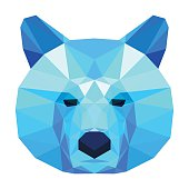 Abstract polygonal geometric triangle blue bear portrait