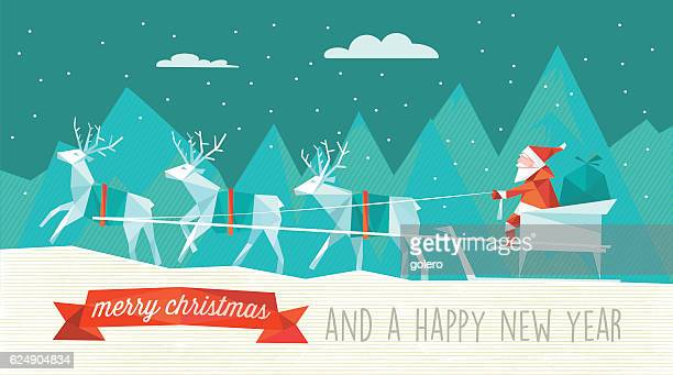 abstract polygonal illustration of santa sleigh in winter landscape