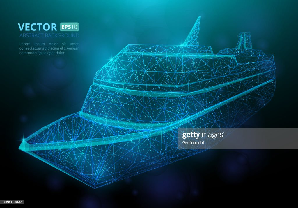 Abstract polygonal marine ship or boat with texture of starry sky