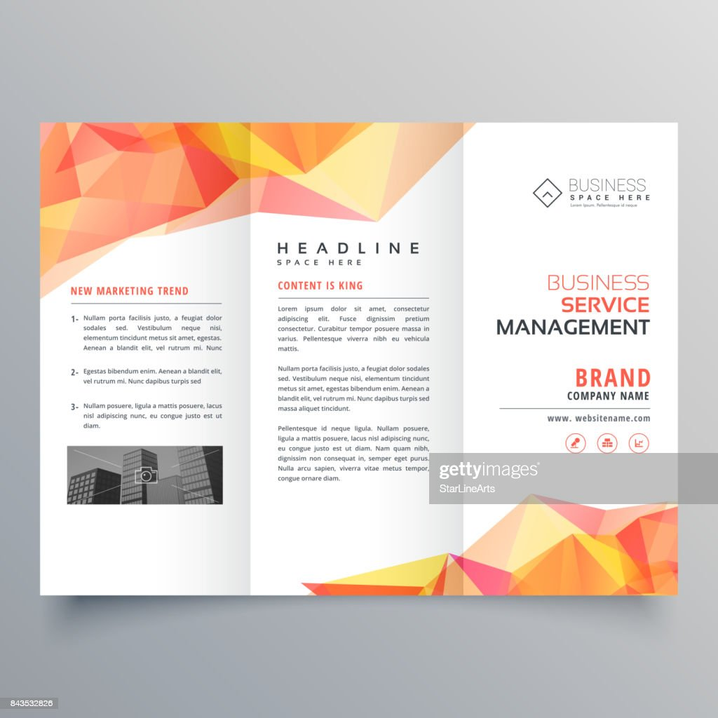 abstract polygonal orange shapes trifold brochure design