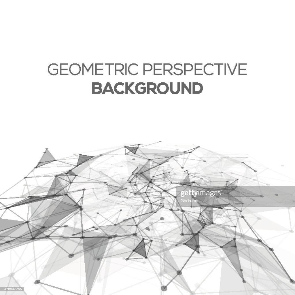 Abstract polygonal perspective low poly background with connecting dots