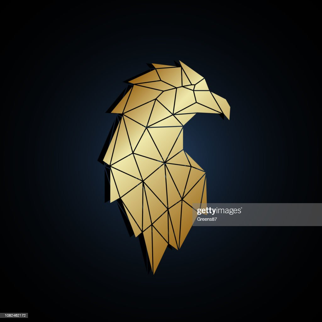 Abstract polygonal portrait of eagle. Vector illustration.