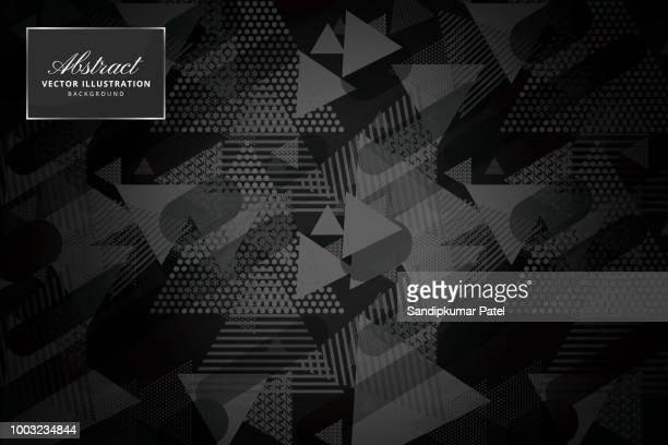 abstract polygonal triangles background - black background stock illustrations