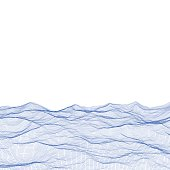 Abstract polygonal wave wireframe background.