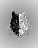 Abstract polygonal wolf head design