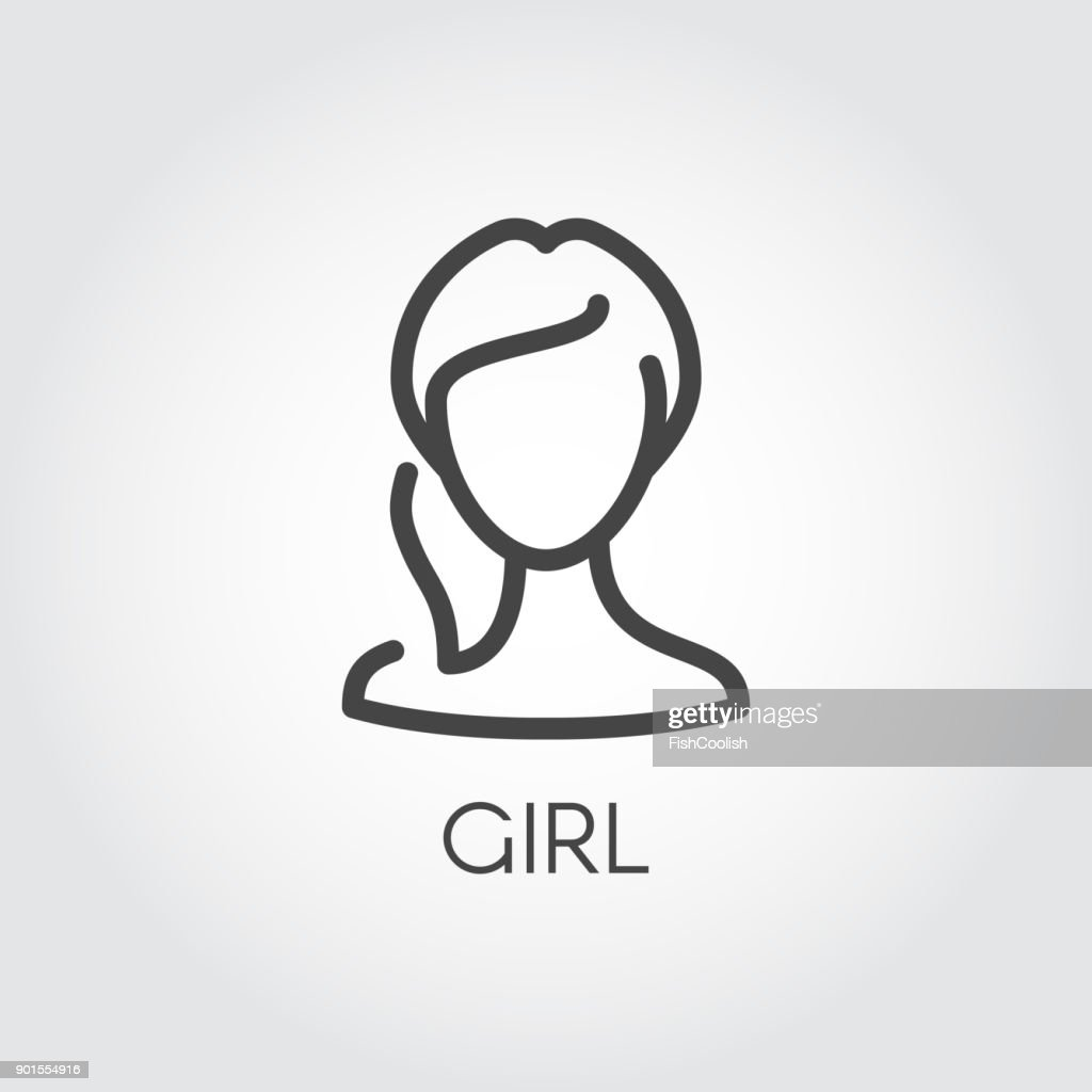 Abstract portrait of girl linear icon. Cosmetology, female avatar or web user concept