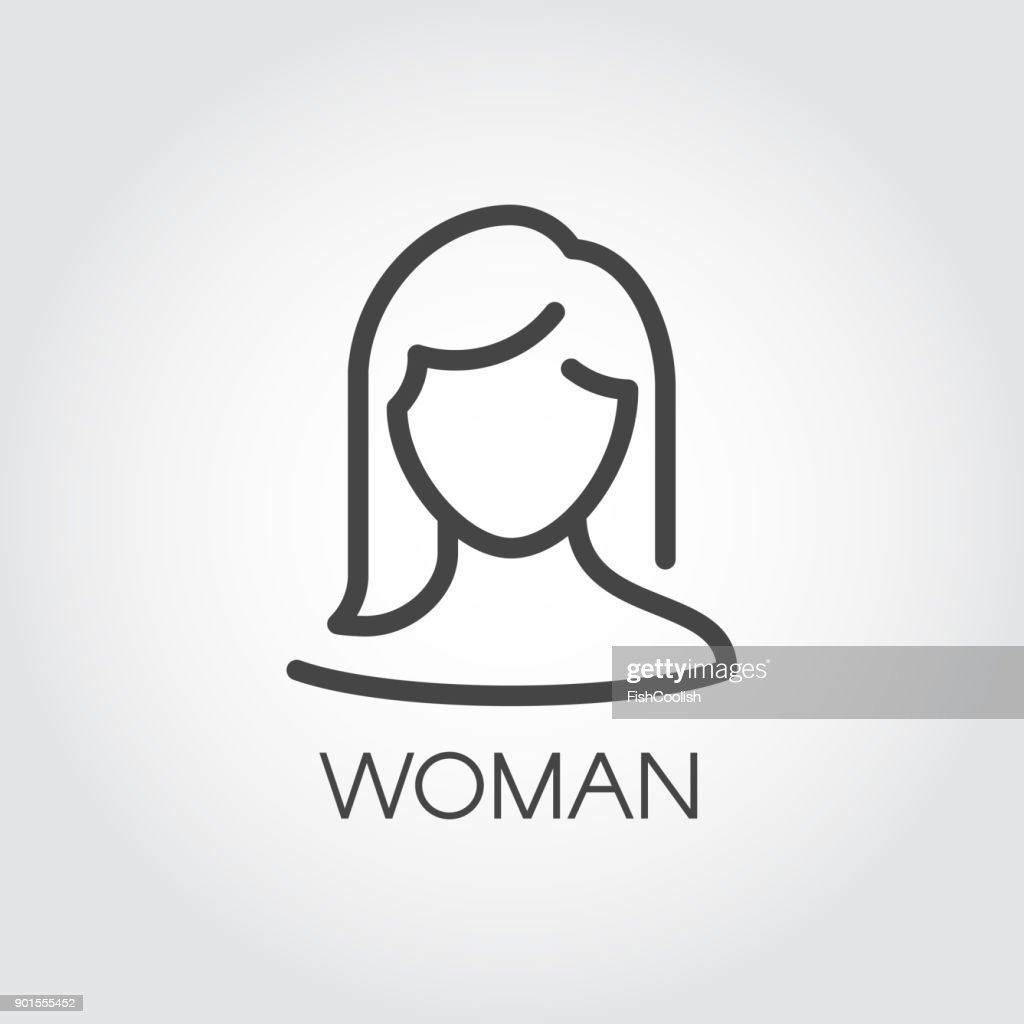 Abstract portrait of woman linear icon. Cosmetology, female avatar or user concept