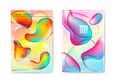 Abstract Poster Liquid Bubble Background. Fluid Bright Gradient Shapes Brochure Template. Banner Identity Card Design Placard. Vector illustration